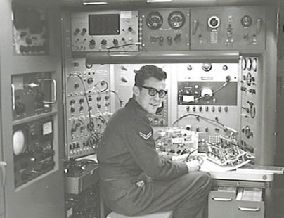 Olaf Engvig at work with a radar unit at Console number 5.