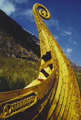 Bow of Dronningen (The Queen) - a full-scale copy of what's believed to be Queen Aasa's ship from Oseberg, Norway.