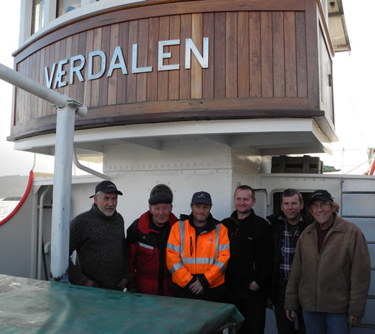 Captain Engvig and crew on first voyage of Vaerdalen in Sept, 2015.