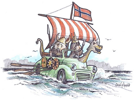 Morris Minor as a Viking Ship.